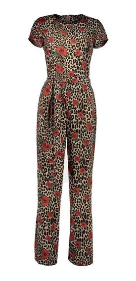 Jumpsuit Con Estampado De Animal Print Y Flores