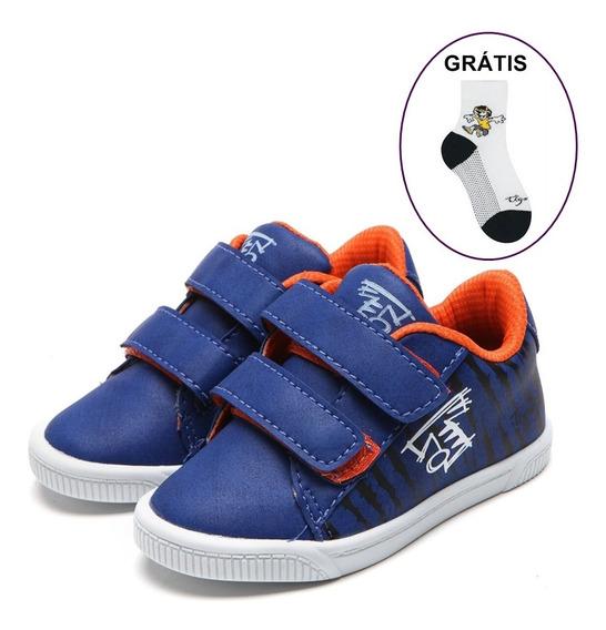 Tênis Sapato Tigor T Tigre Menino Azul / Frete Grátis + Meia