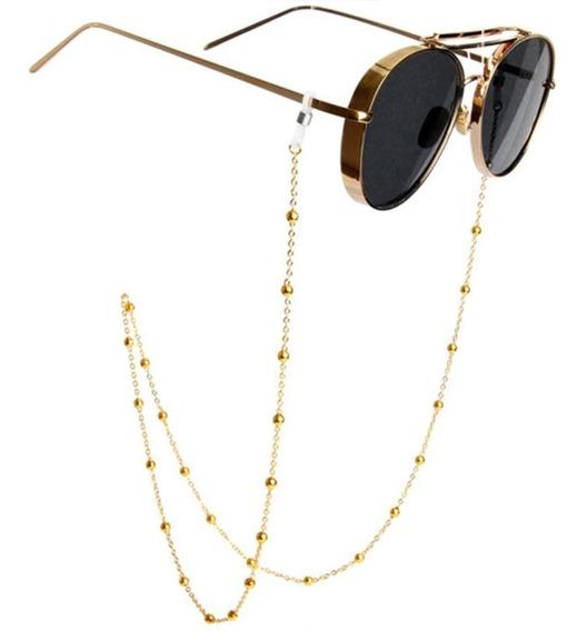 Óculos Cordão De Bolinha Muito Delicado, Dourado Corda Corrente Segura Prende Cordinha Luxo