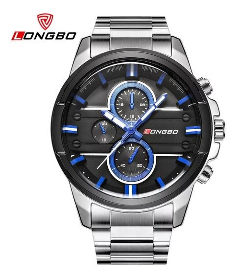 Relógio Masculino Longbo Silver Black Blue Com Frete Grátis
