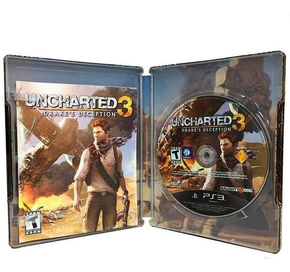 Uncharted 3 Drakes Deception Ps3 Steelcase Mídia Física