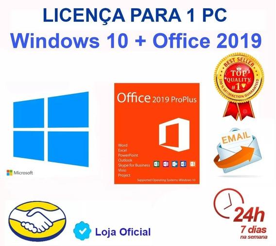 Key Windows 10 Pro Office 2019 Pro Licença Serial + Nf_e