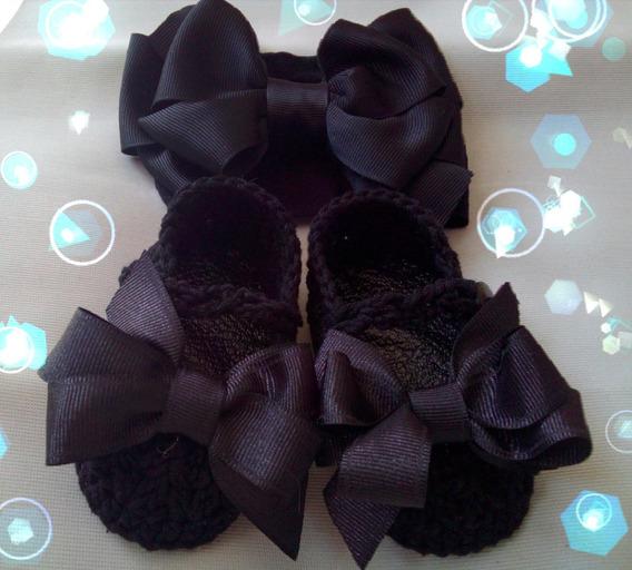 Zapatos Tejidos De Bebé Negros Con Tiara Moño
