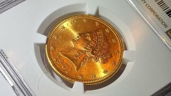 Moeda De Ouro 10 Dólares Liberty Eagle $10 Certificação Ngc