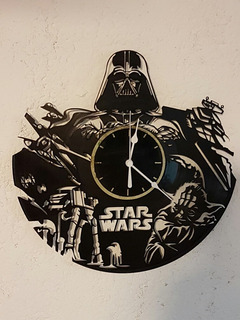 Reloj Decorativo De Pared En Acetato De Vinilo Star Wars