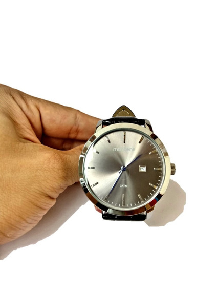 Relógio Pulso Masculino Mondaine Couro Preto Clássico