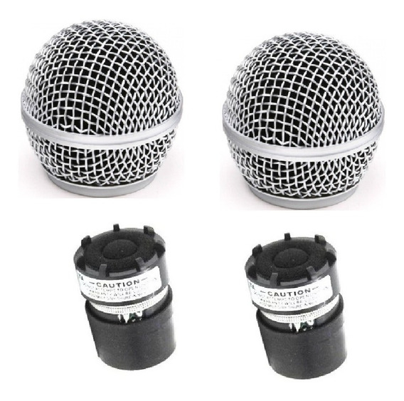 Kit 2 Cápsula P/ Microfone Sm58 Similar Shure + 2 Globo