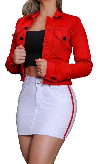 Jaqueta Vermelha Ou Branca Set For Jeans Feminina
