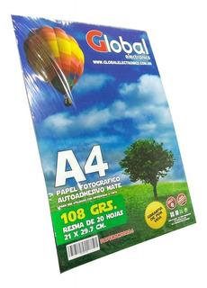 Papel Fotografico Autoadhesivo Sticker Mate A4 X 20 Hojas