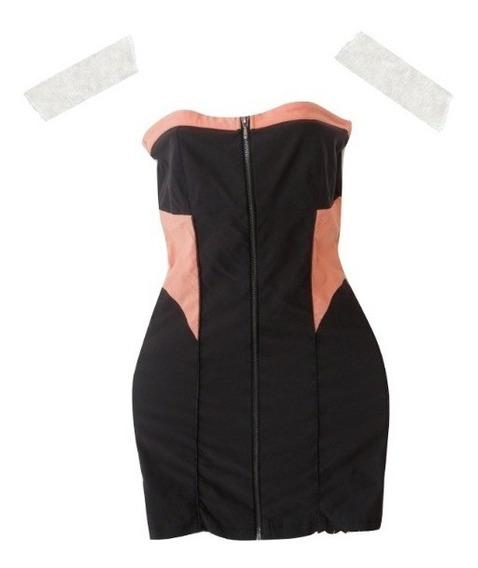 Mini Vestido Strapless Xiomi Cierre Frontal
