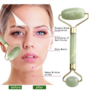 Rolo Massageador Facial Pedra Jade Anti Rugas Massoterapia