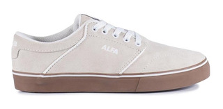Tênis Alfa Skate Switch Bege E Latex Camurça Original Barato