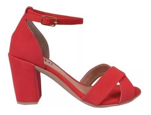 Sandália Feminina Salto Alto Vermelha