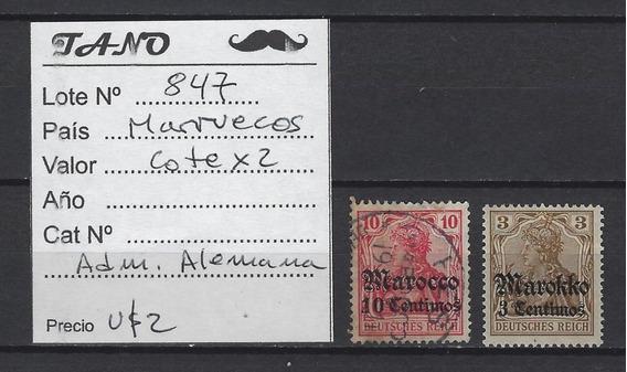Lote847 Marruecos Lote De 2 Estampillas Antiguas Adm.alemana