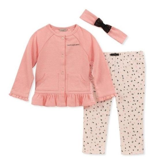 Conjunto De Bebê Calvin Klein Meninas - 3 Peças
