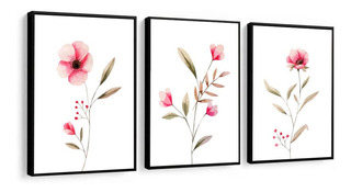 Quadro Decorativo Flores Rosa Delicadas Fundo Branco Sala