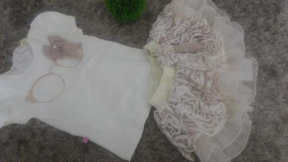 Conjunto Infantil Feminino Saia / Blusa Luxo Batizado 2 Anos