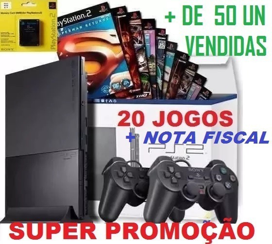 Ps2 Games Console Playstation 2+20 Jogos+memory+2 Controles