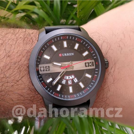 Relógio Masculino Preto Caixa De Aço Pulseira De Couro 8286