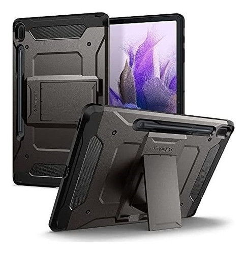 Imagen 1 de 6 de Funda Spigen Tough Armor Galaxy Tab S7 Fe Gris