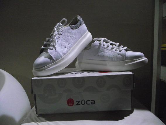 Zapatillas De Cuero Blancas Talle 40