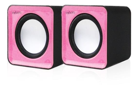 Caixa De Som 2.0 Usb Para Computador E Smartphone Rosa