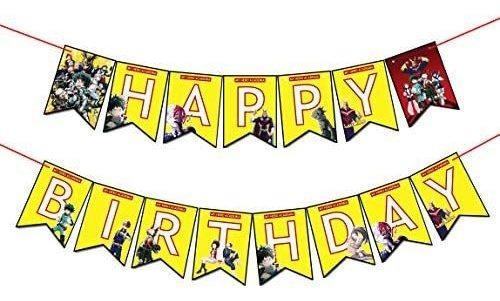 Imagen 1 de 3 de Mi Héroe Academia Bandera Para Feliz Cumpleaños Perfecto P
