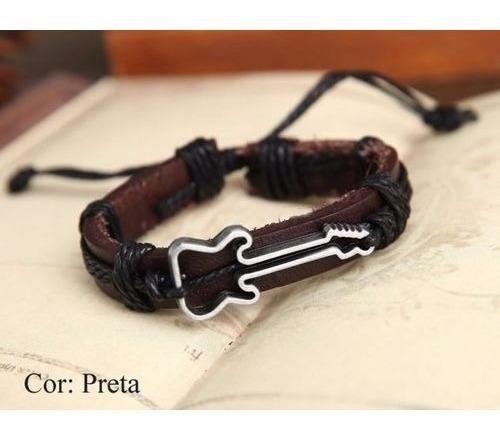 Bracelete Pulseira Em Couro Guitarra