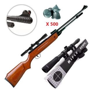 Rifle Aire Comprimido Potenciado 5.5+ Mira 4x20 + 500 Baline