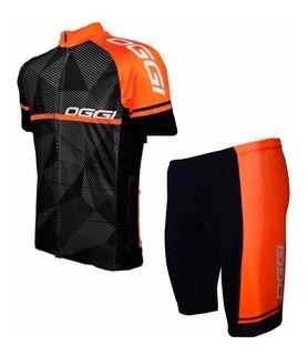 Conjunto Ciclismo Oggi Big Wheel Laranja Camisa Mc + Bermuda