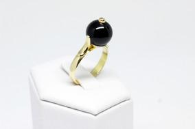 Anel Em Ouro18k Feminino Com Onix Natural Legitima 10mm