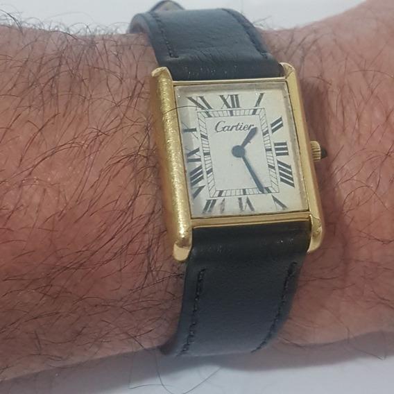 Relogio Cartier Acorda Antigo Do Vovo 02 Todo Em Plaque Oro
