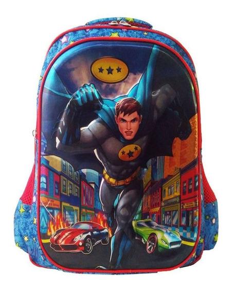 Mochila Escolar Infantil Azul 3d Resistente Menino Costas