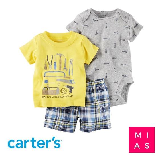Set Carters Body Camisa Short 3 Piezas Talla 9 Meses