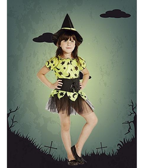 Disfraz De Brujita Amarillo Fluo Halloween Talle 2, 3