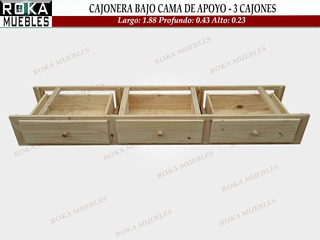 Cajonera Bajo Cama Carro Cajón 3 Cajones Apoyo Pino 43 Prof