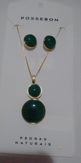 Conjunto Dourado Folh. Ouro Com Pedras Naturais Ágata Verde.