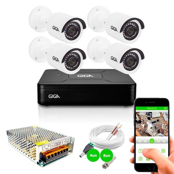 Kit 4 Câmeras Segurança Hd 720p Gs0018 Dvr Gravador Giga