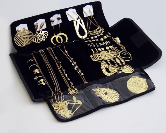Kit Semi Joias 10 Anéis + 10 Brincos Grandes Folheados Ouro