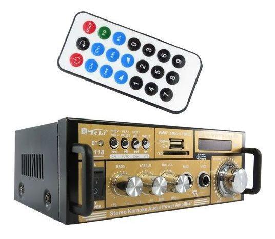 Receiver Amplificador Potencia 2 Canais Som Mp3 Sd Bluetooth