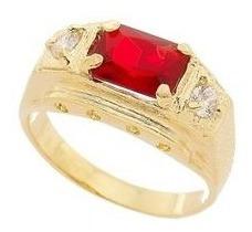 Anel Masculino Com Pedra Vermelha