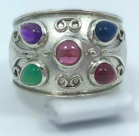 Anel Prata 925 Feminino - Pedras Coloridas Naturais