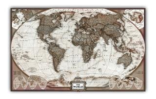 Mapa Mundi Hd Atual Tipo Vintage 65x100cm Para Decorar Casa