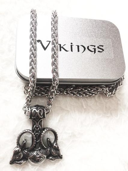 Cordão Vikings Nórdico Martelo De Thor Cabra Bjorn Ragnar