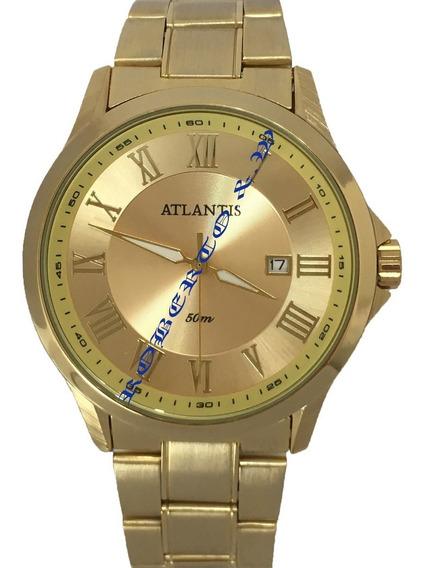 Relógio Masculino Atlantis Dourado Com Calendário Atacado