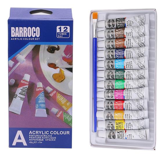 Kit 12 Tubos Tintas Barroco 6ml Pintura Acrílica 1 Pincél