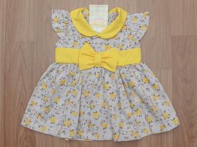 Vestido Laço Floral Cinza E Amarelo