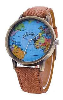 Reloj Mapamundi (marrón)