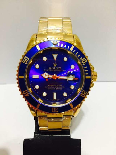 Relógio Em Aço Sub Gold Blue