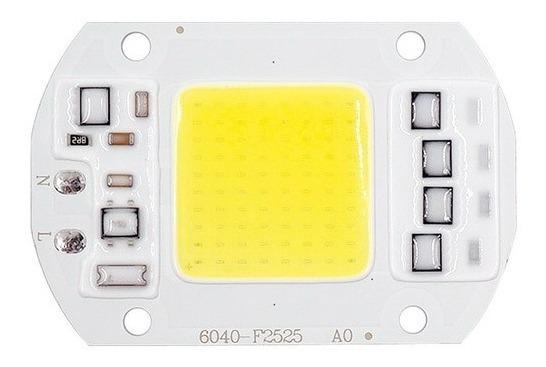Kit 10 Chip Led 50w 110v Branco Quente Com Reator Acoplado